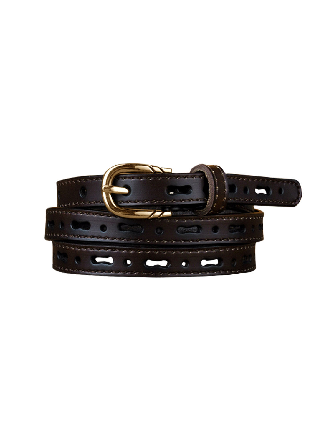 Women Perforated Design Single Pin Buckle PU Skinny Waist Belt Dark Brown