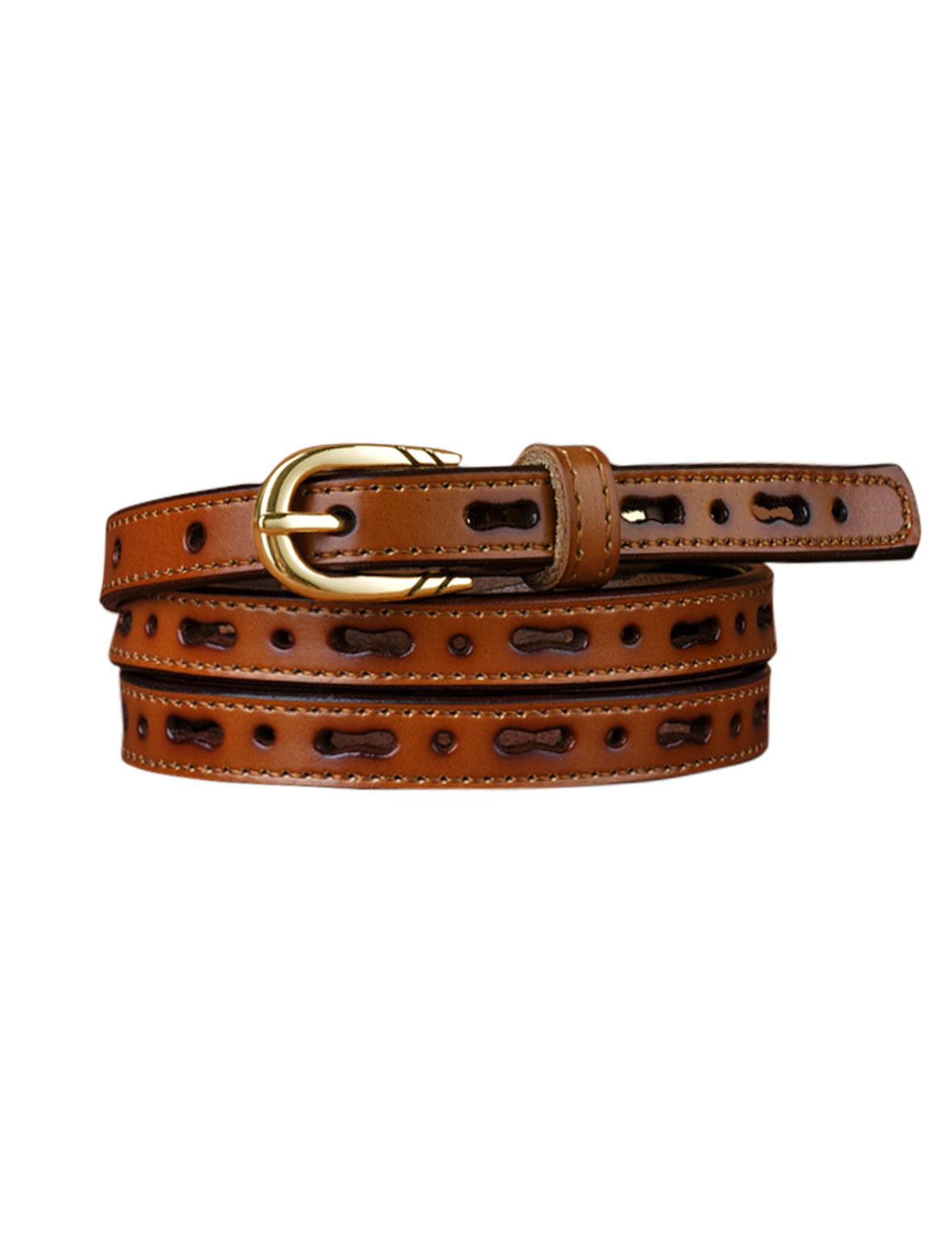Women Perforated Design Single Pin Buckle PU Skinny Waist Belt Brown