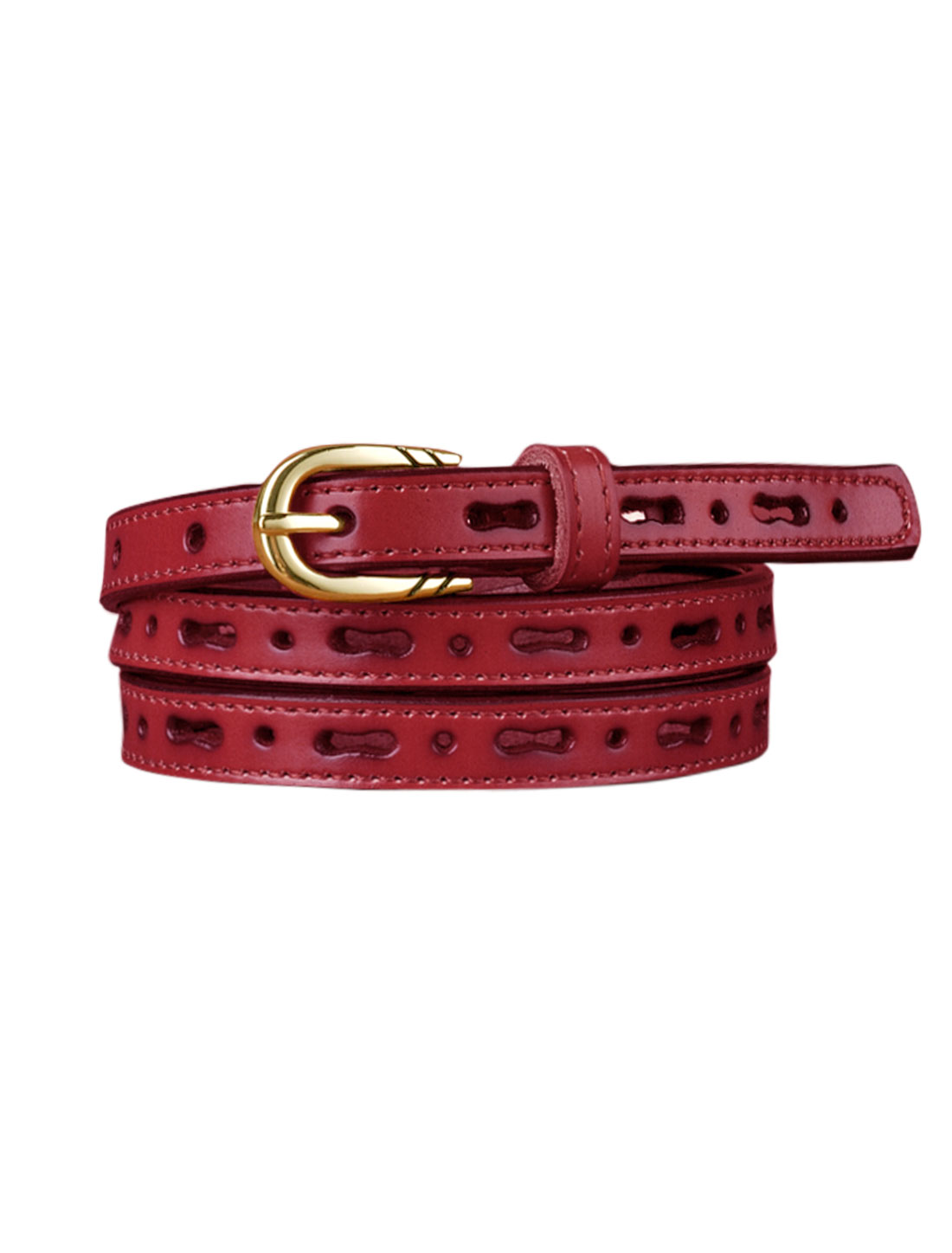 Women Perforated Design Single Pin Buckle PU Skinny Waist Belt Pink