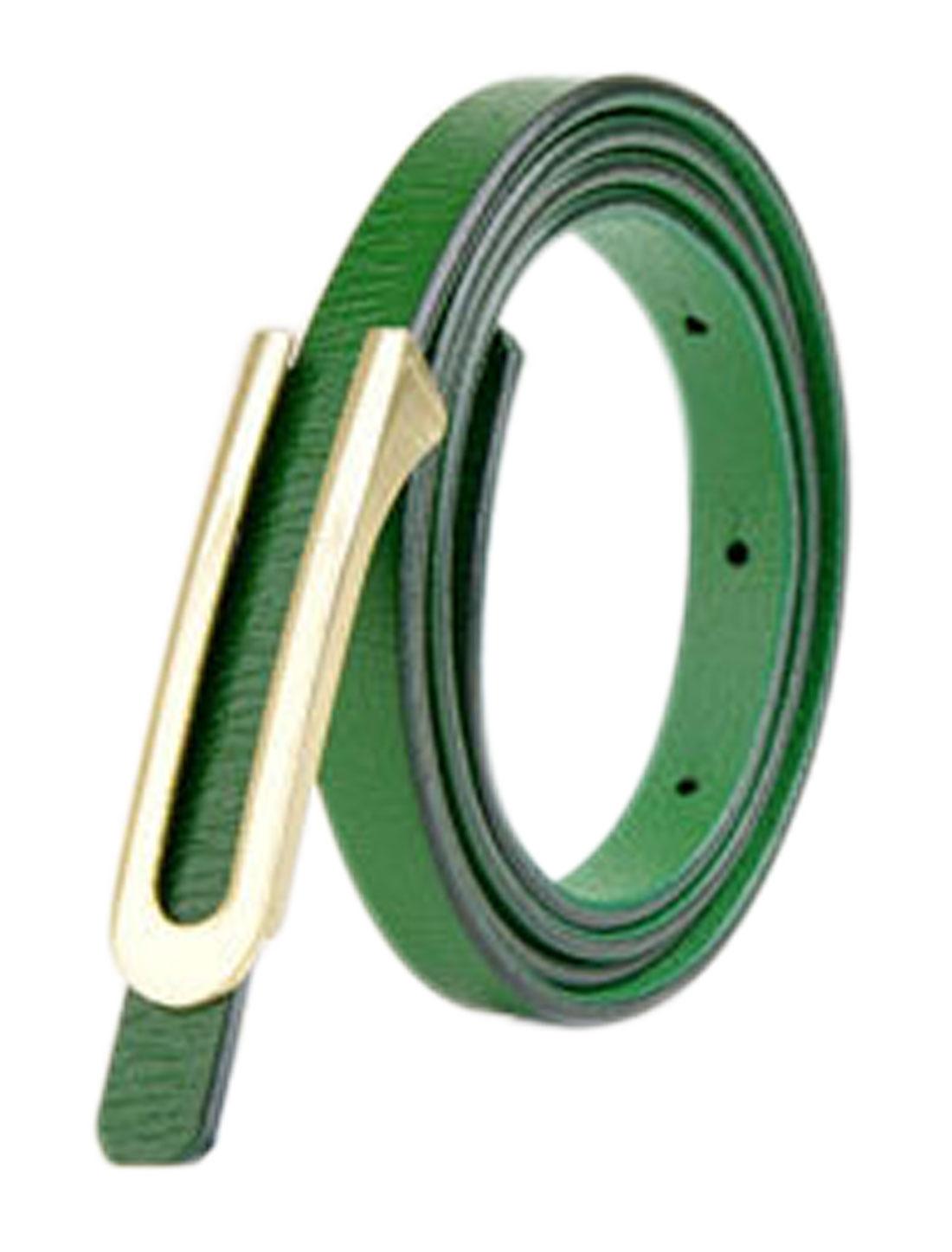 Women Press Buckle Adjustable Skinny PU Waist Belt Green