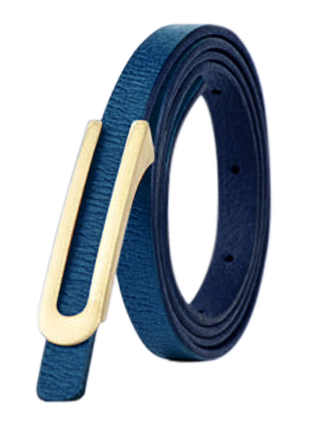 Women Press Buckle Adjustable Skinny PU Waist Belt Blue
