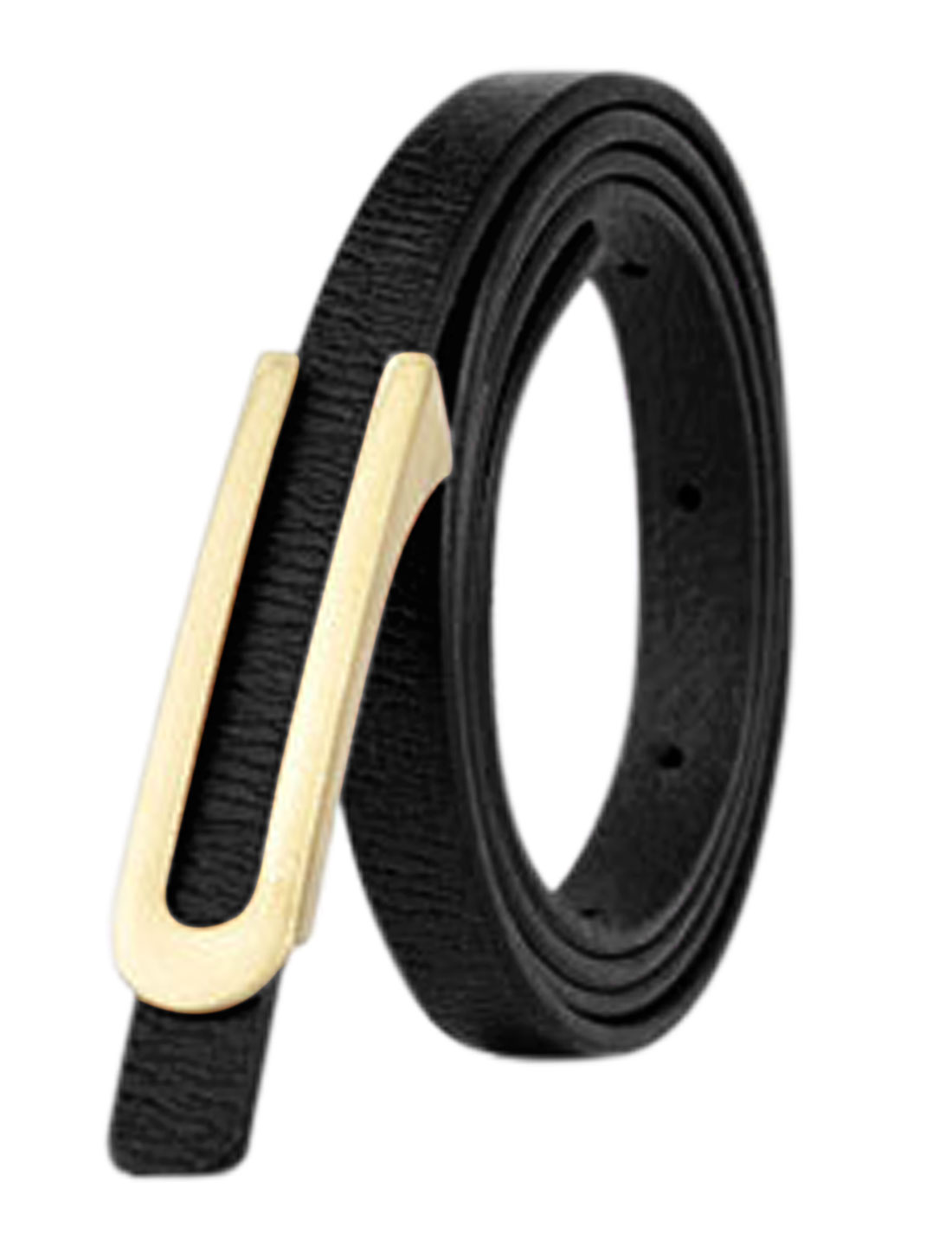 Women Press Buckle Adjustable Skinny PU Waist Belt Black