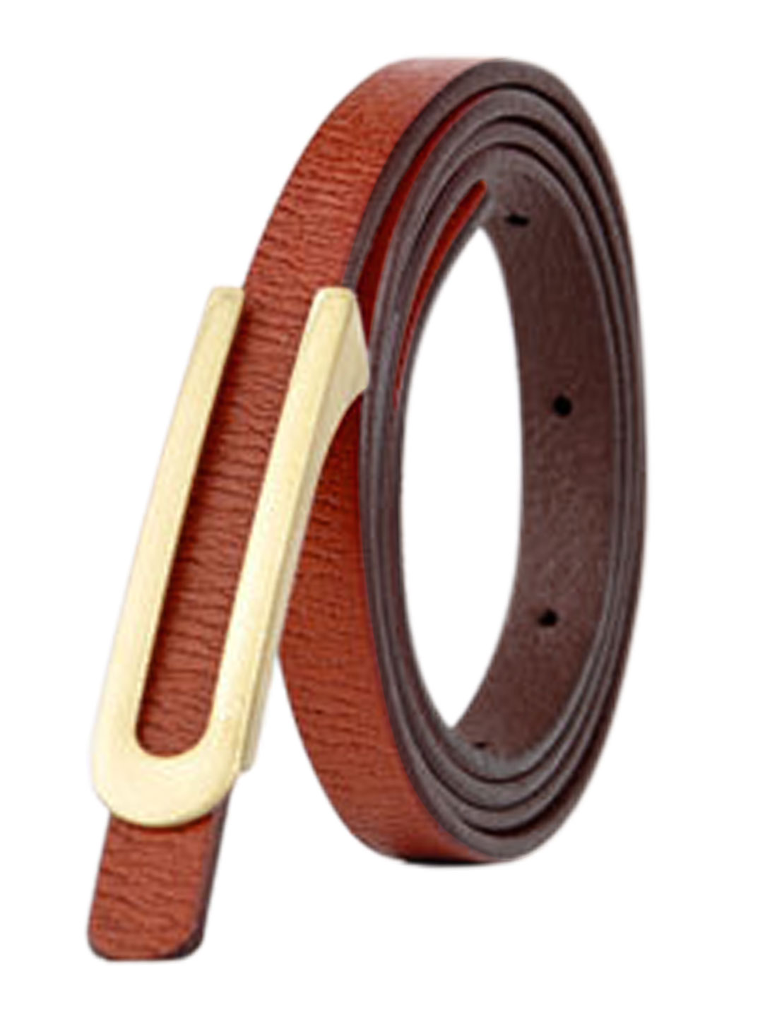 Women Press Buckle Adjustable Skinny PU Waist Belt Brown