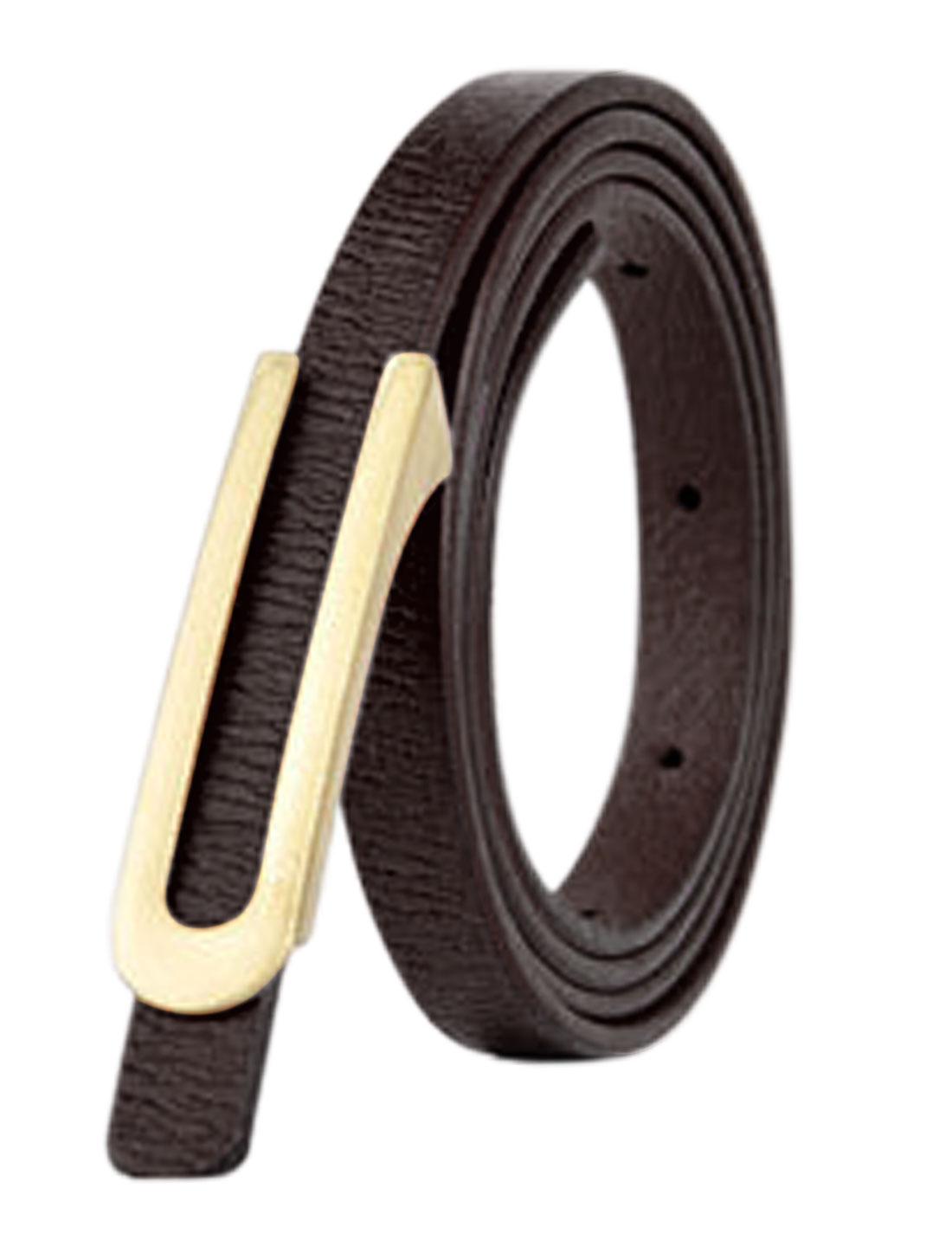 Women Press Buckle Adjustable Skinny PU Waist Belt Dark Brown