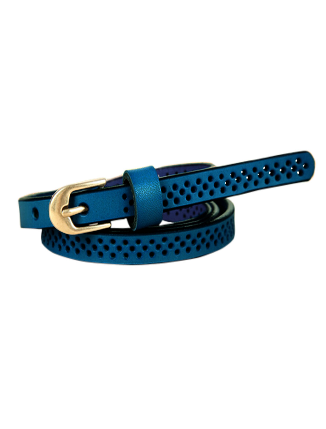 Women Hollow Out Single Pin Buckle Adjustable PU Belt Blue