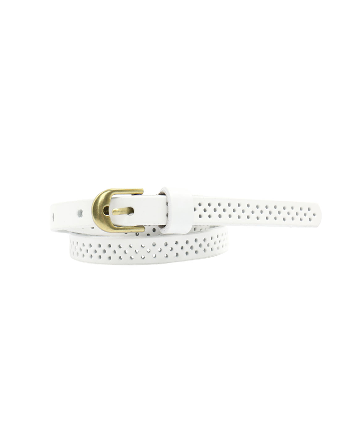 Women Hollow Out Single Pin Buckle Adjustable PU Belt White