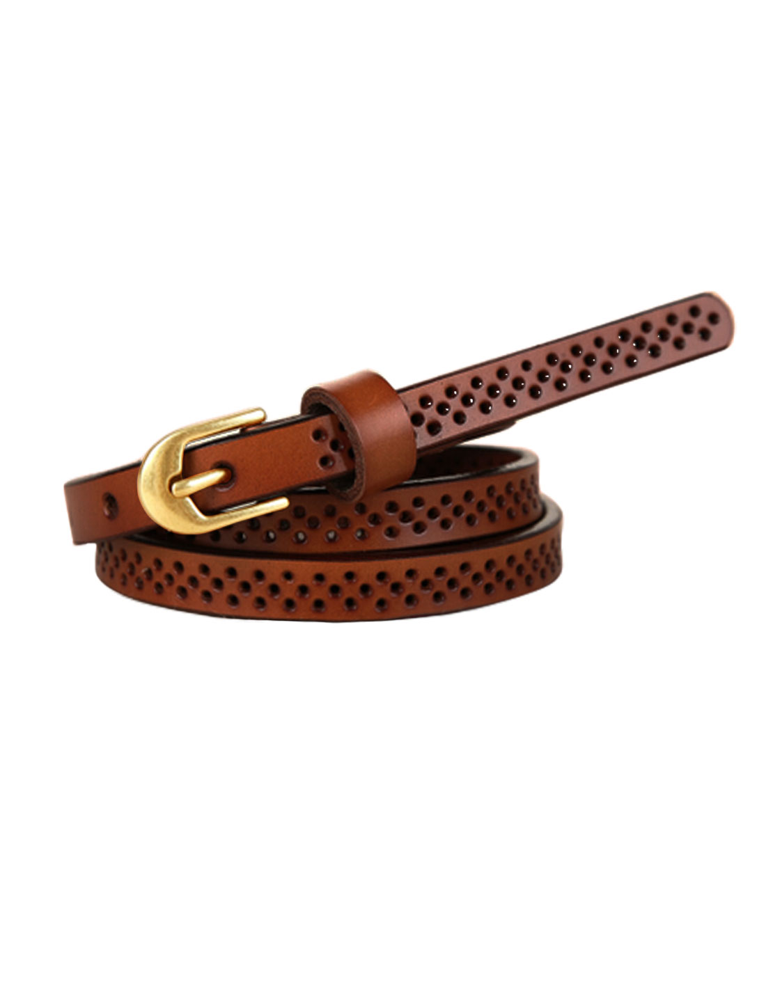 Women Hollow Out Single Pin Buckle Adjustable PU Belt Light Brown