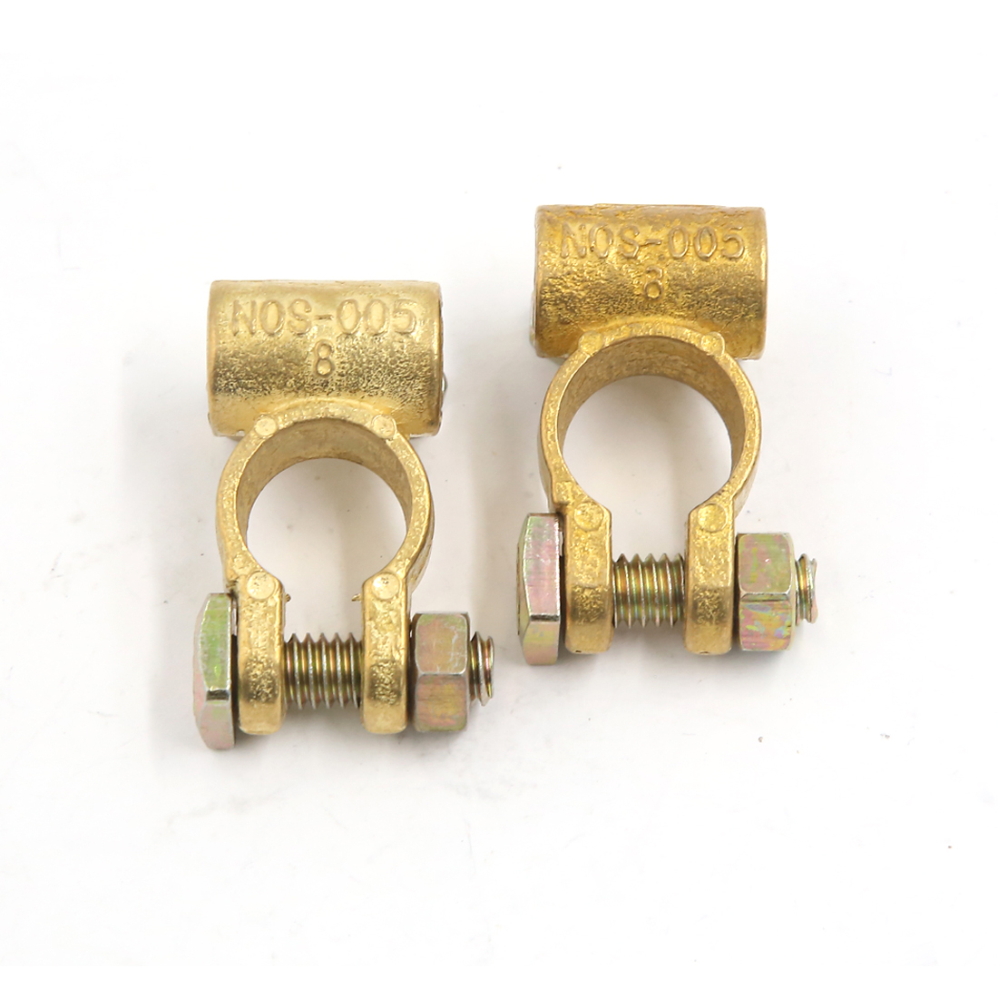 Pair Positive Negative Screw Straight Type Brass Battery Terminal Clips Connector