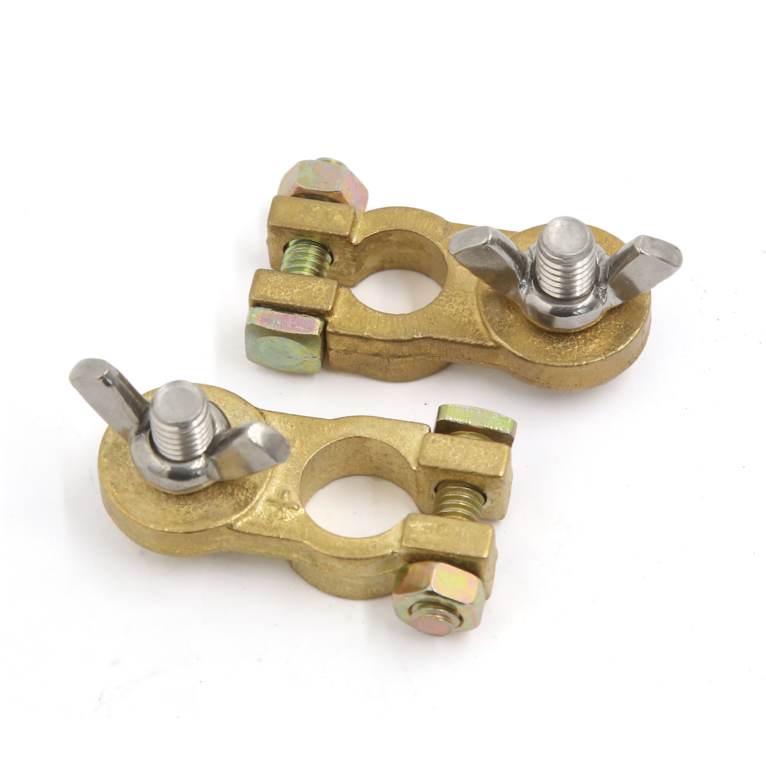 2Pcs Universal Brass Positive Negative Car Battery Terminal Clamp Clip Connector