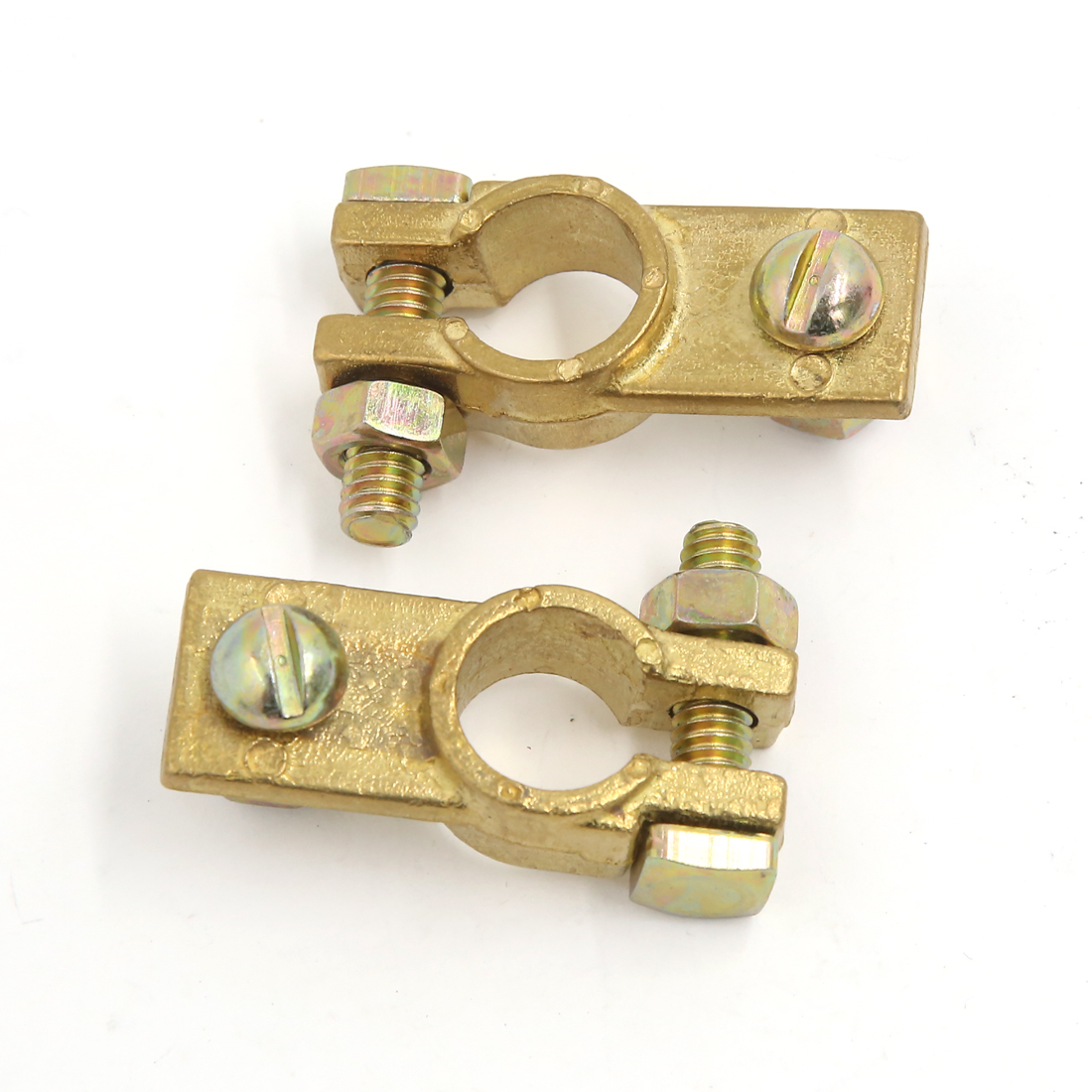 2Pcs Universal Copper Alloy Negative Port Battery Terminal Clamps Connector Gold Tone