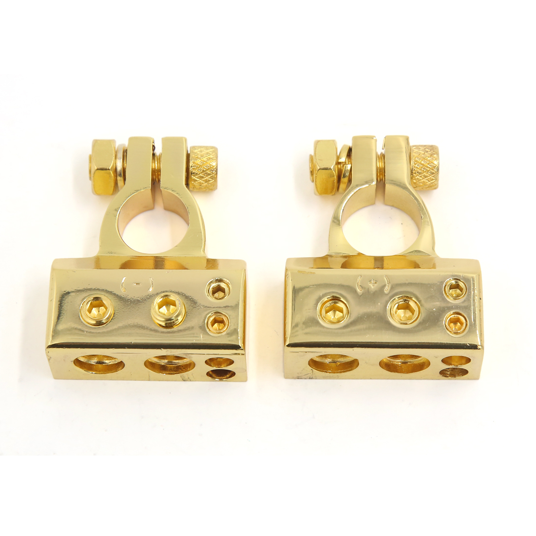 2 pcs Positive Negative Battery Terminals Connectors Gold Tone for Auto Car