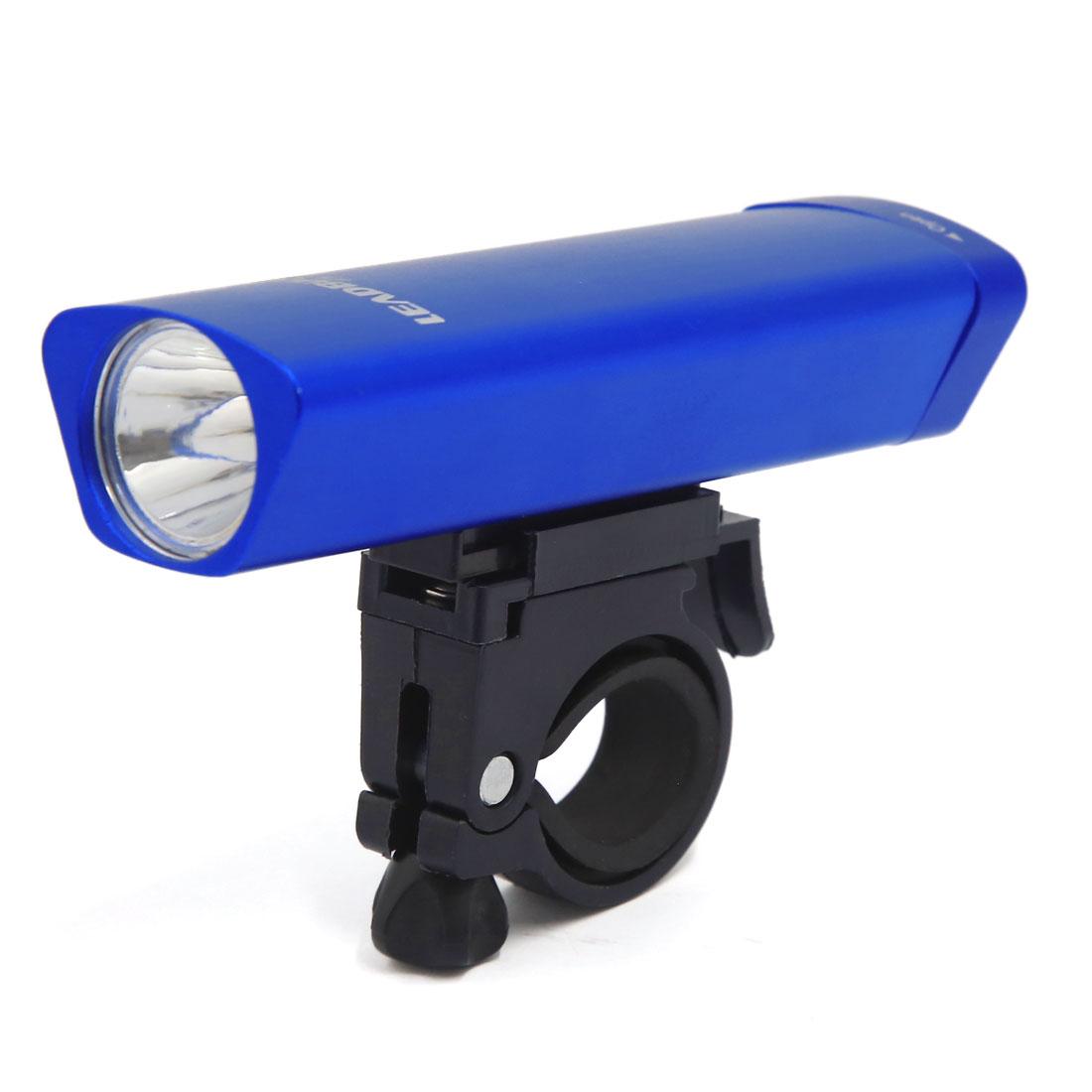 Adjustable Cycling Bicycle Front White LED Mount Holder Handlebar Flash Light Blue