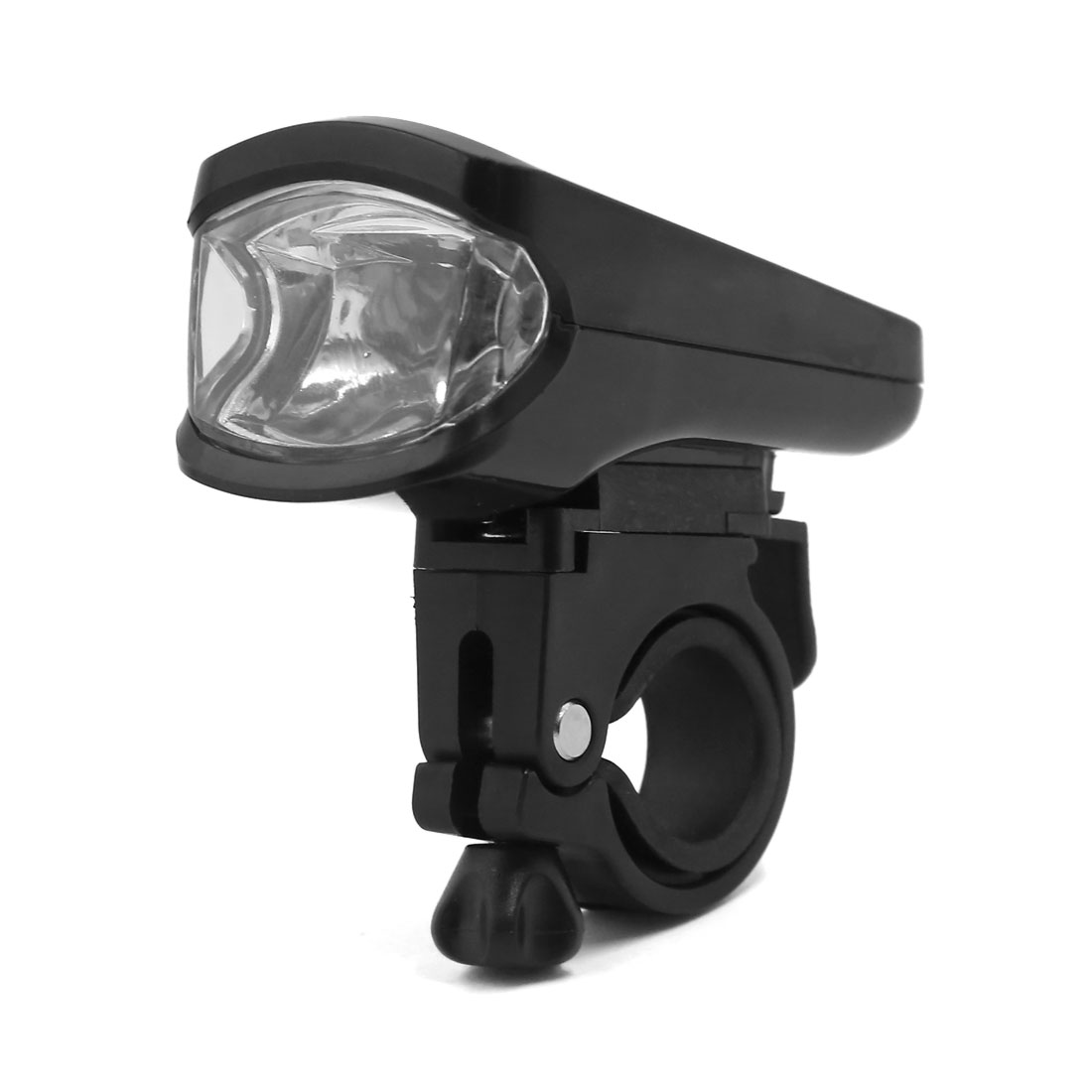 Rechargeable Bicycle Head Front White LED Flash Light Lamp Adjustable Mount Black