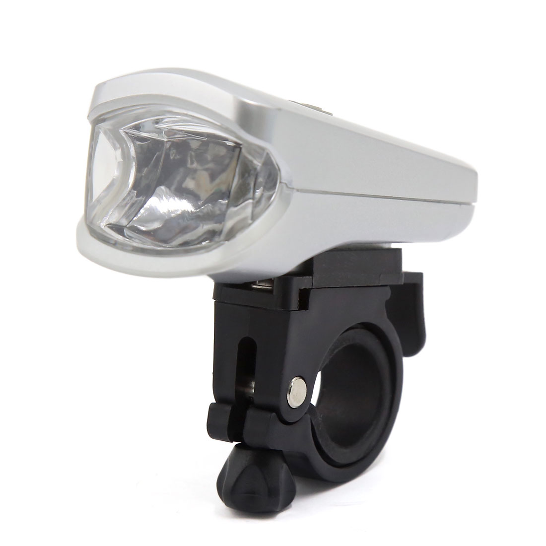 White LED Lamp Rechargeable Bicycle Head Front Flash Light Silver Tone