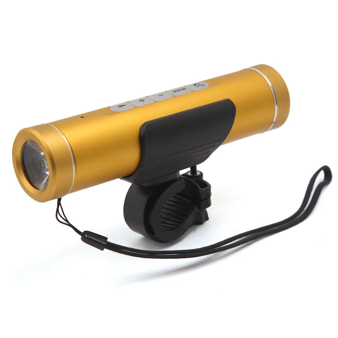 Multi-function Waterproof bluetooth Bike Music Flashlight Power Bank Gold Tone