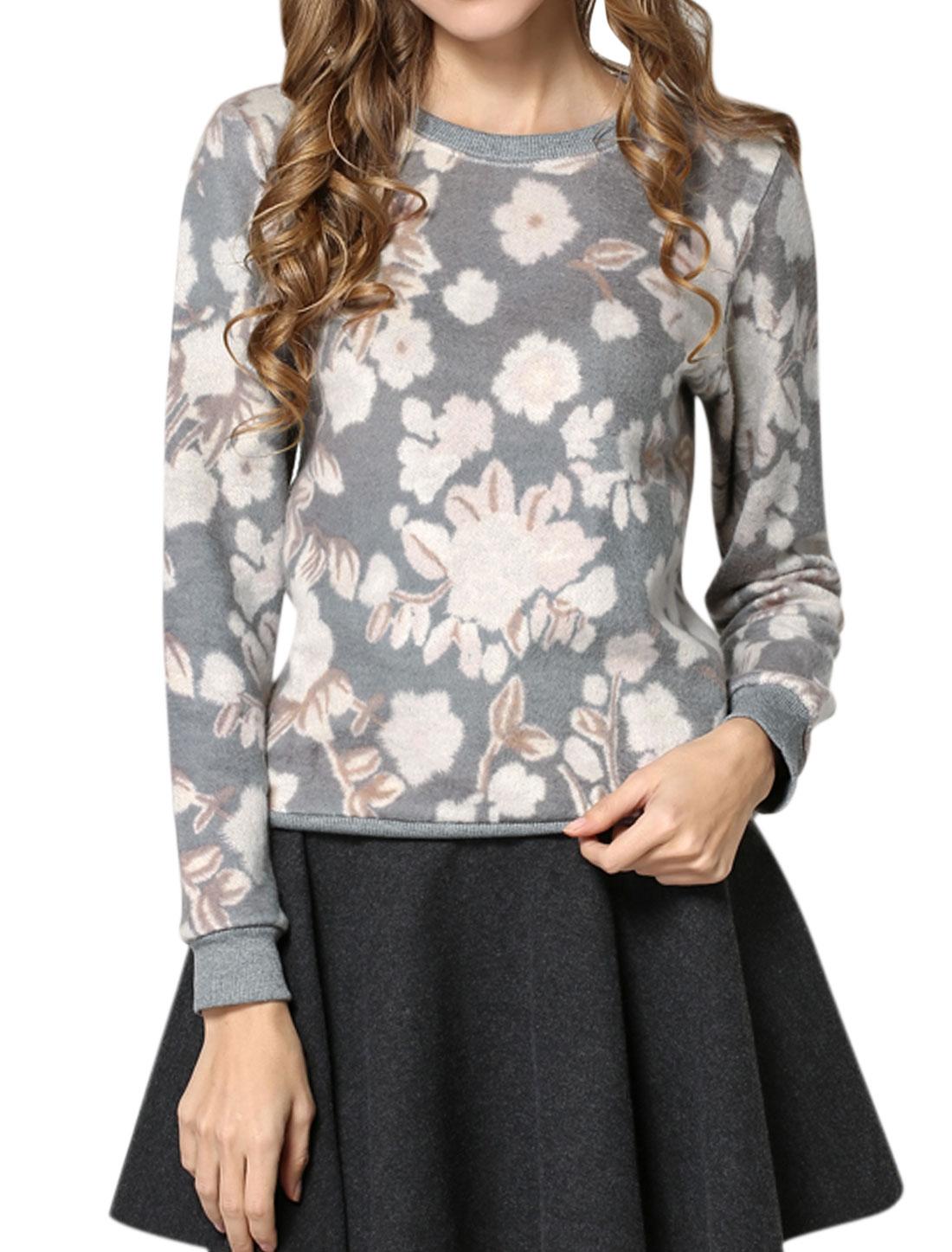 Women Crew Neck Long Sleeves Floral Pattern Sweatshirt Gray S