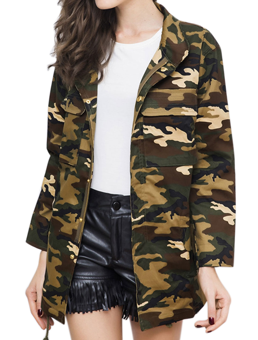 Women Drawstring Waist Multi-Pocket Camouflage Pattern Tunic Jacket Green L