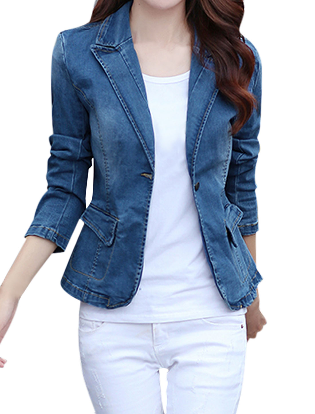 Women Peaked Lapel Long Sleeves Button Closure Jean Jacket Blue XS