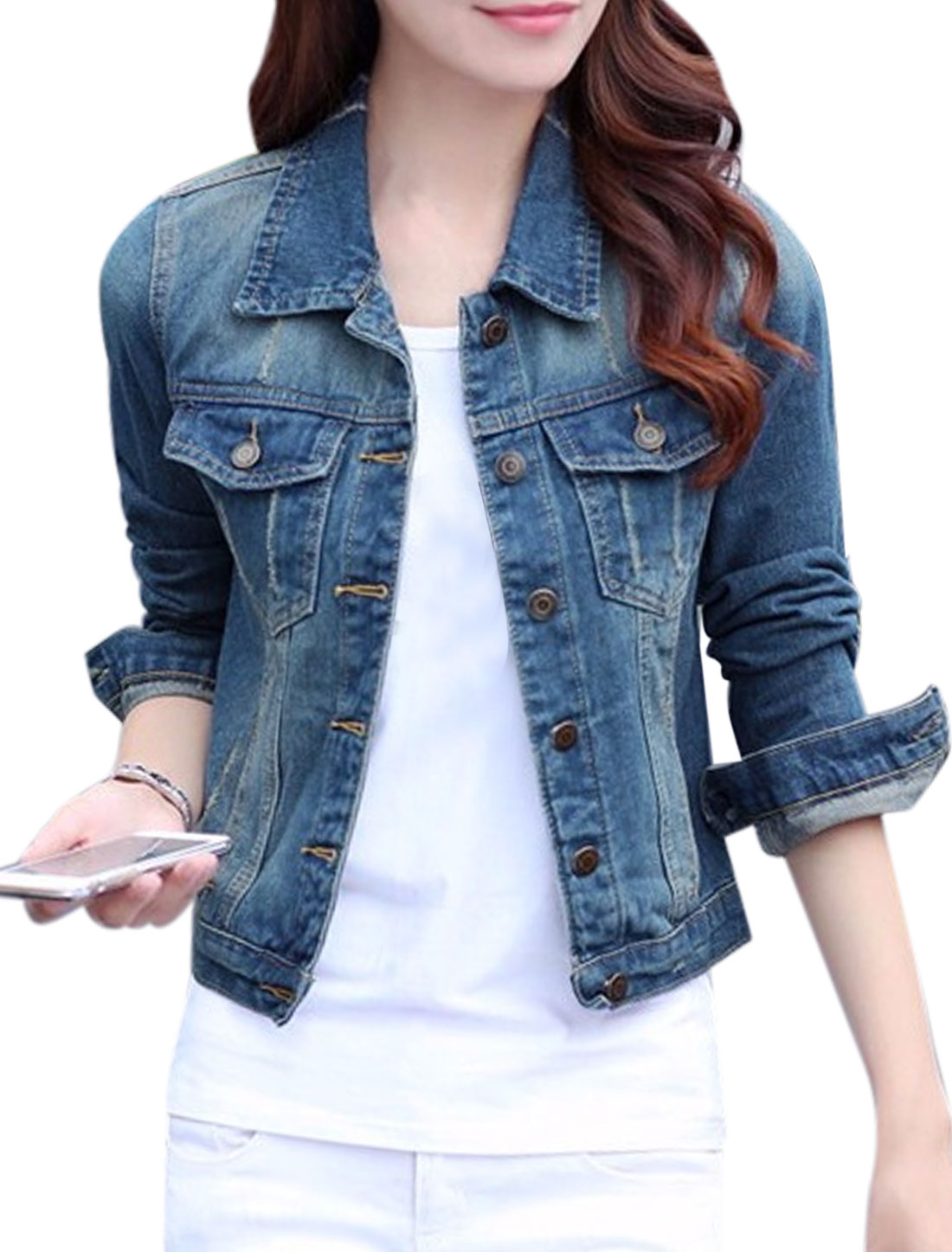 Women Distressed Detail Button Closure Cropped Jean Jacket Blue M