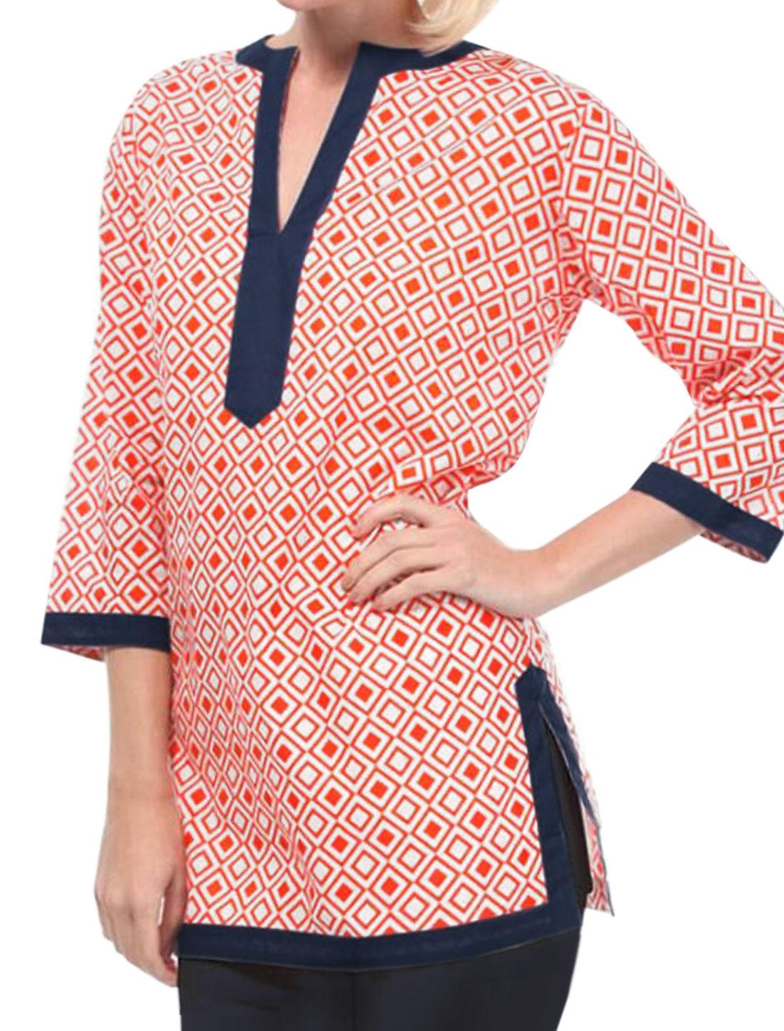 Women Argyle Pattern Split Side Contrast Color Tunic Top Red M