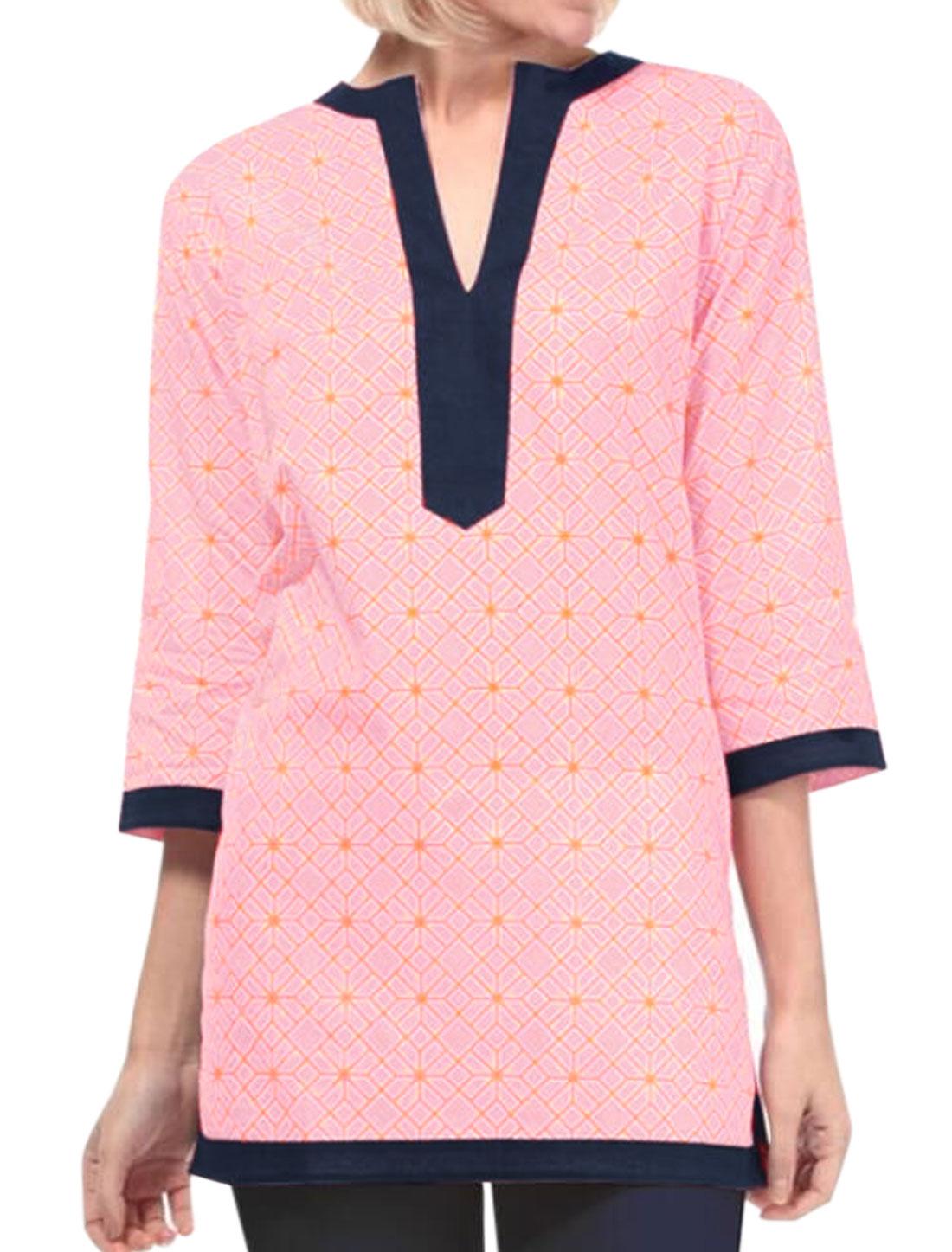 Women Geometric Prints Split Neck Contrast Color Tunic Top Pink M
