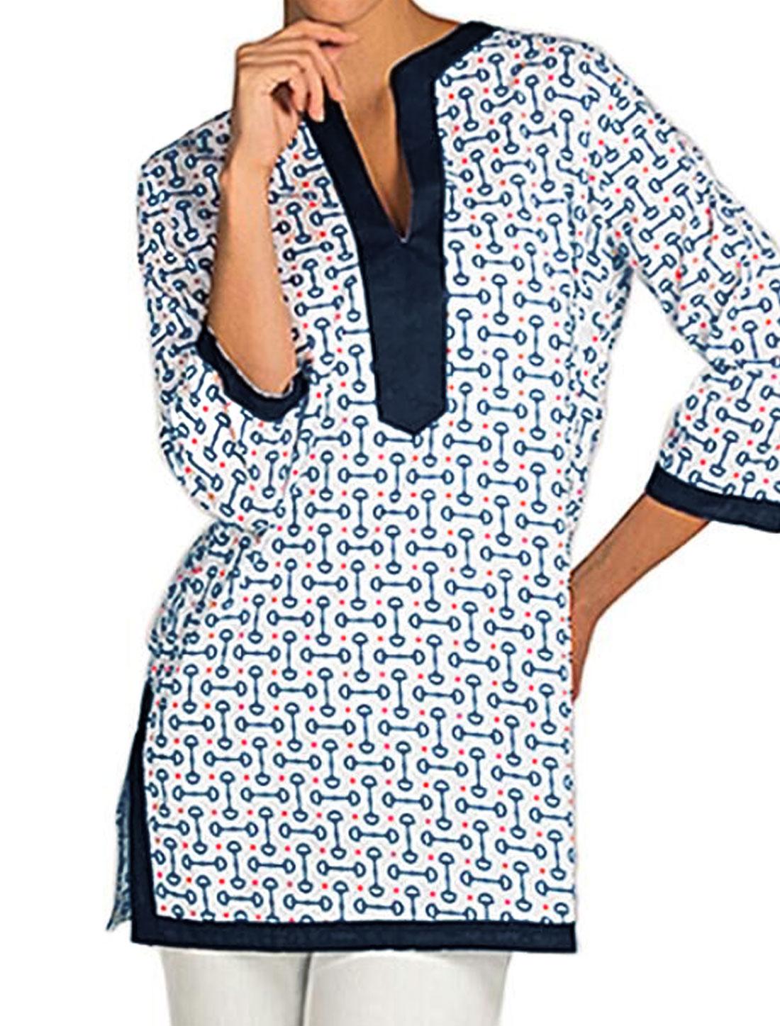Women Dots Novelty Prints Split Neck Tunic Top White M