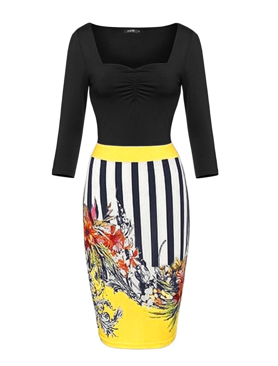Women Asymmetric Neck Stripes Floral Prints Sheath Dress Yellow L