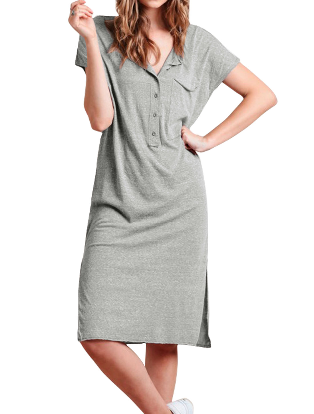 Women Half Placket Split Sides Midi T-Shirt Dress Gray S