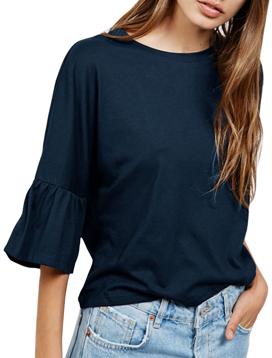 Women 3/4 Bell Sleeve Drop Shoulder Loose Blouse Blue S