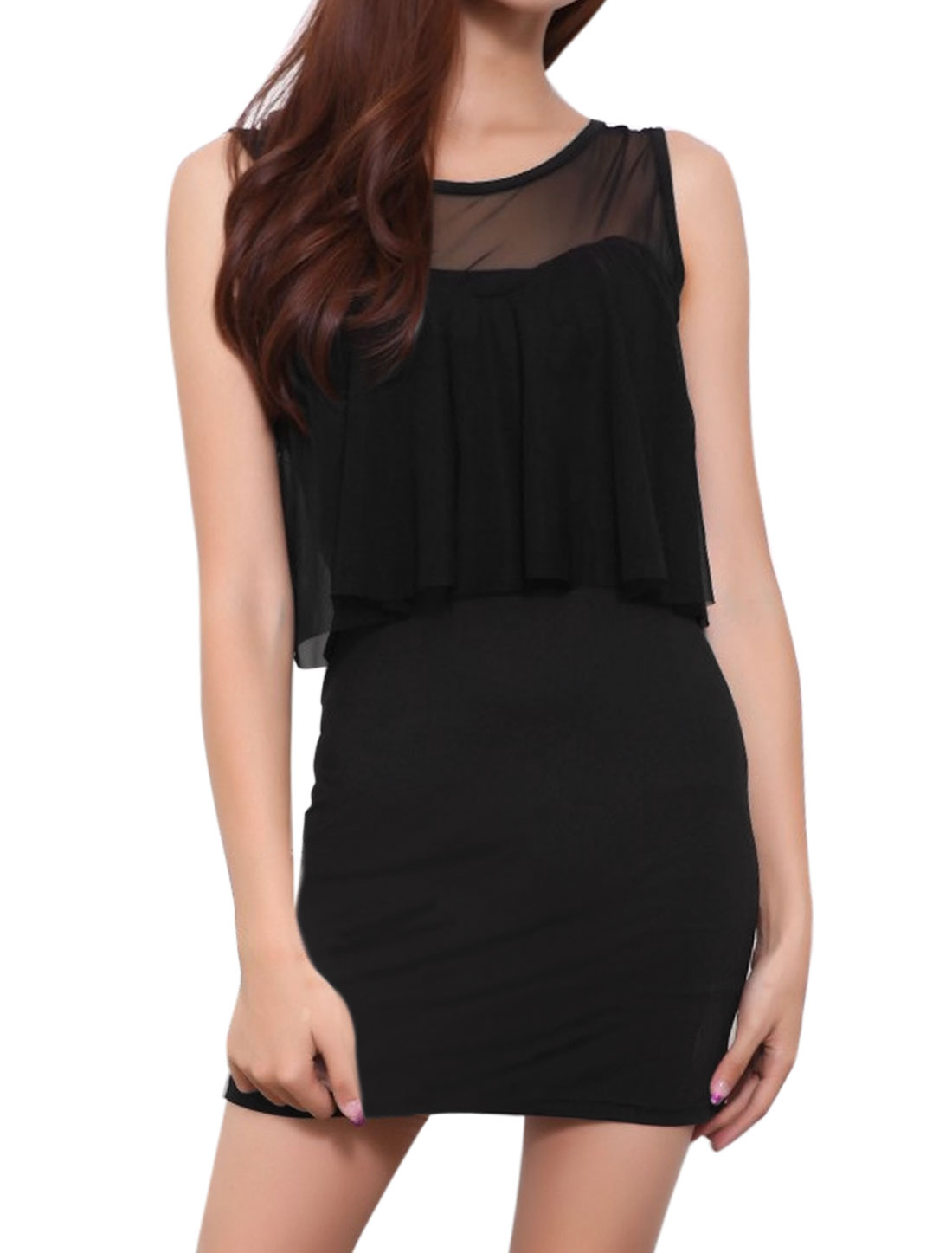 Women Mesh Panel Layered Mini Sheath Party Dress Black XS