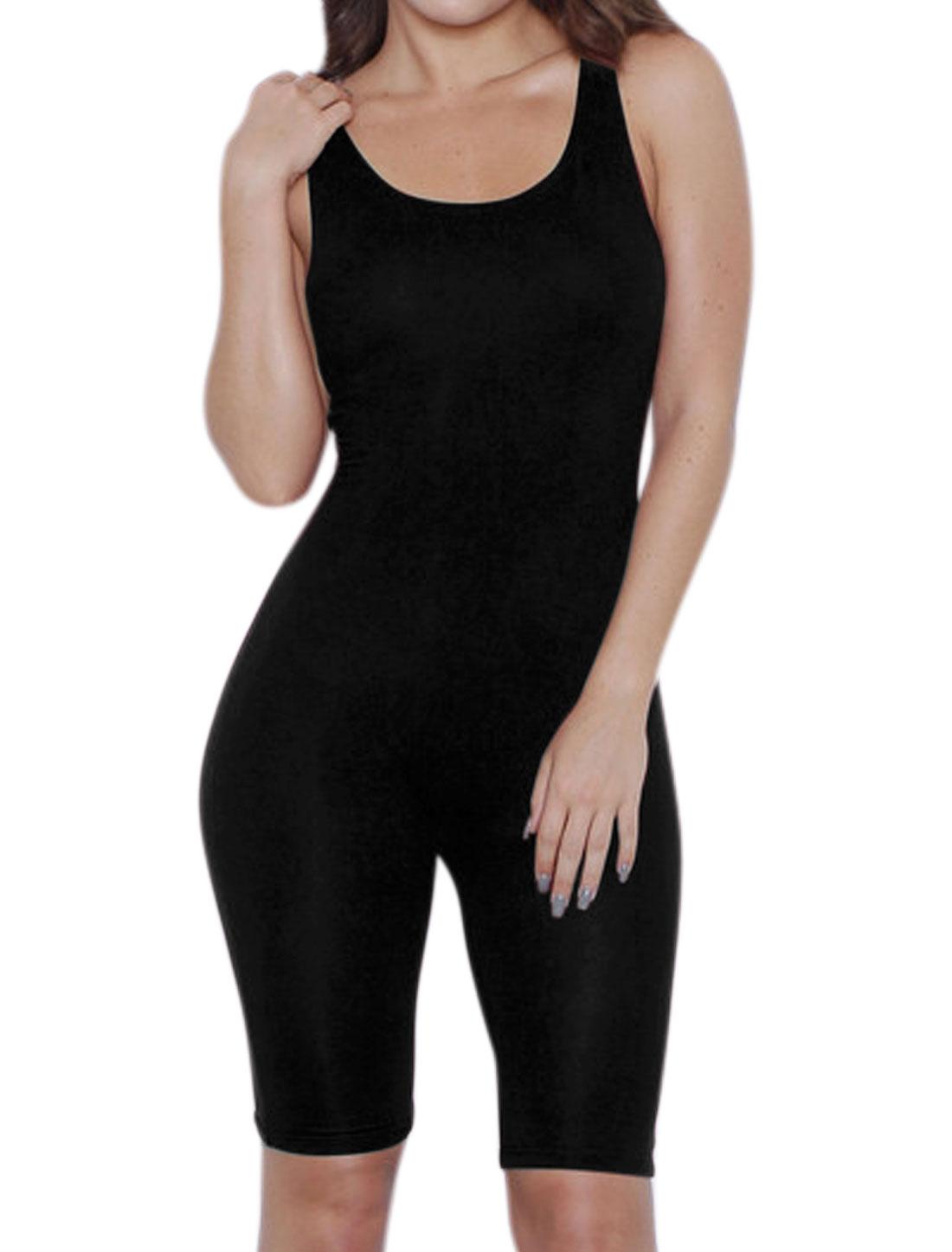 Women Scoop Neck Stretchy Knee Length Sport Romper Black L