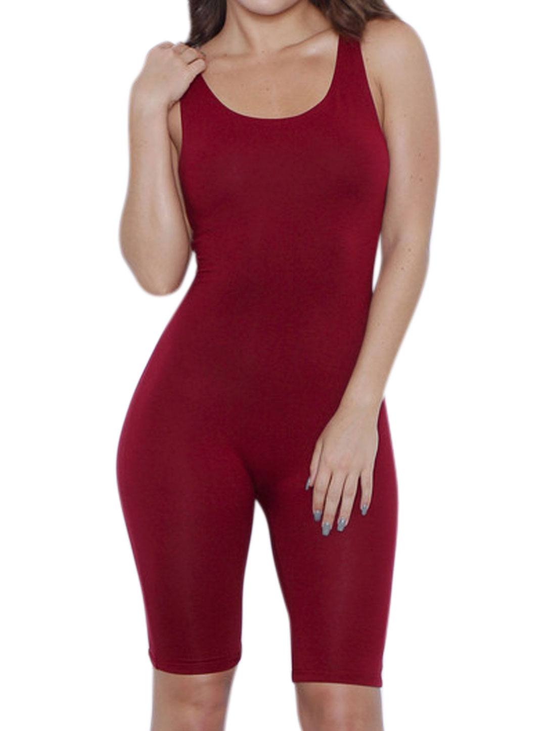 Women Scoop Neck Stretchy Knee Length Sport Romper Red L