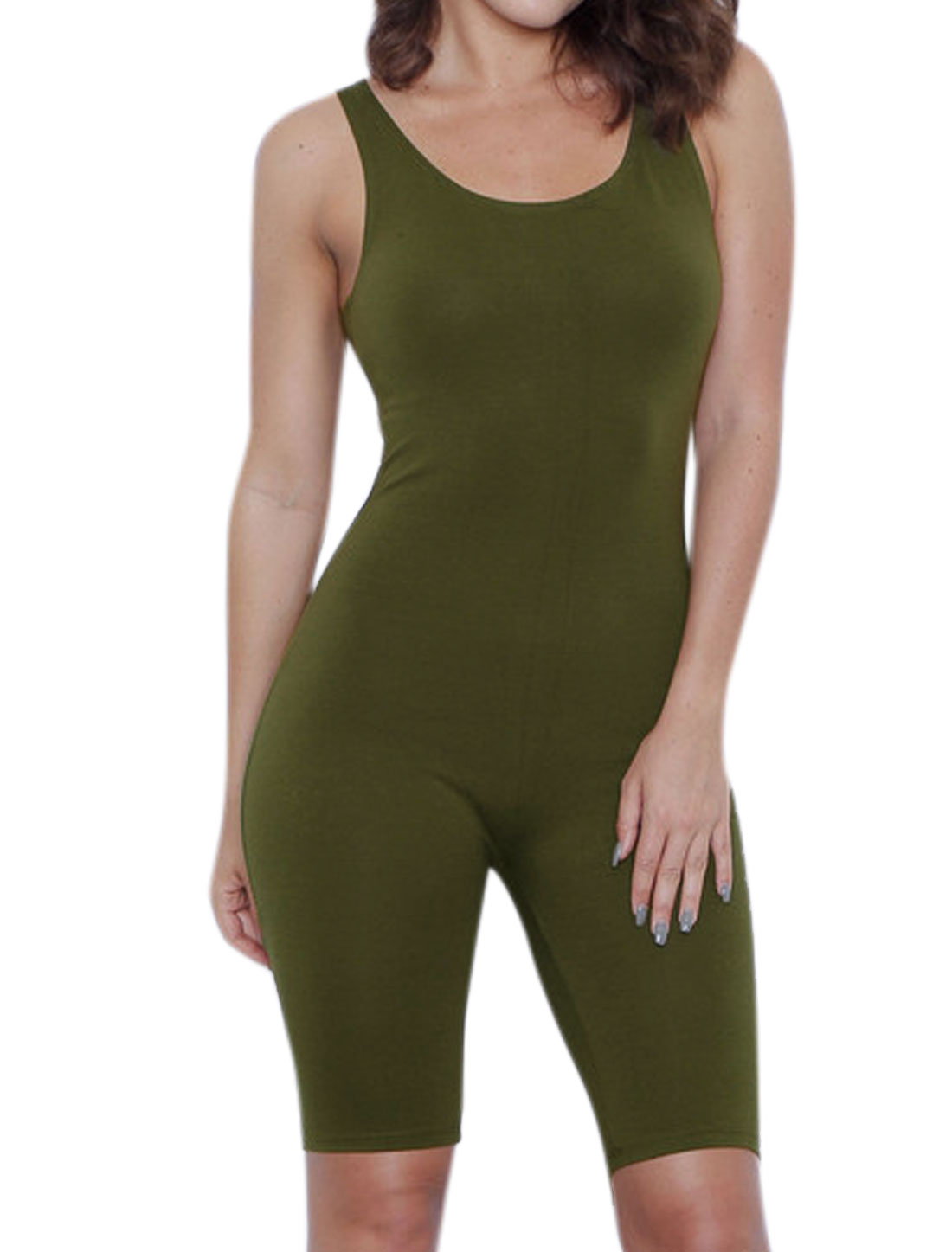 Women Scoop Neck Stretchy Knee Length Sport Romper Green L