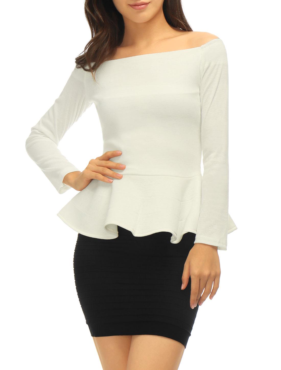 Women Off Shoulder Long Sleeves Slim Fit Peplum Top Off White S
