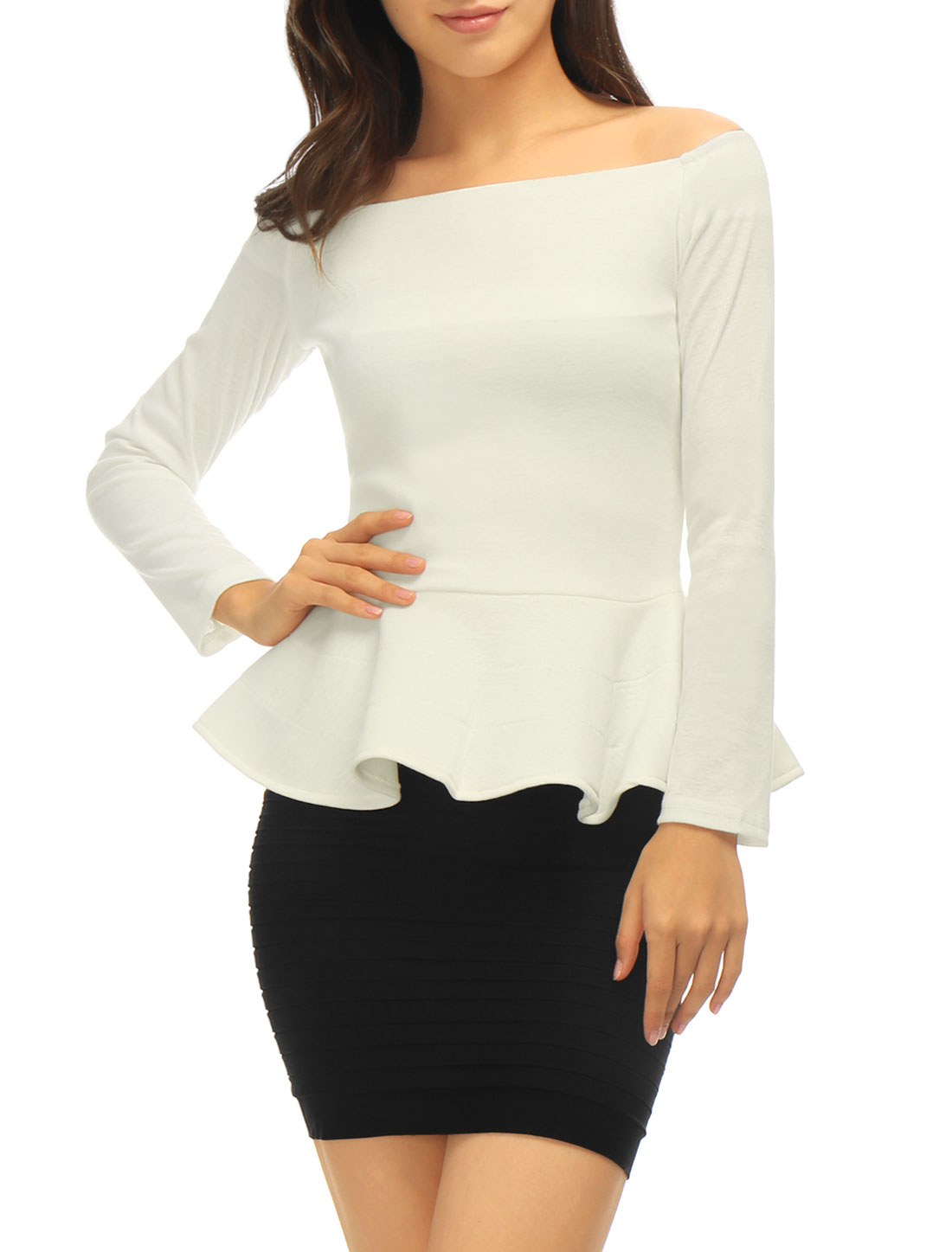 Women Off Shoulder Long Sleeves Slim Fit Peplum Top Off White XL
