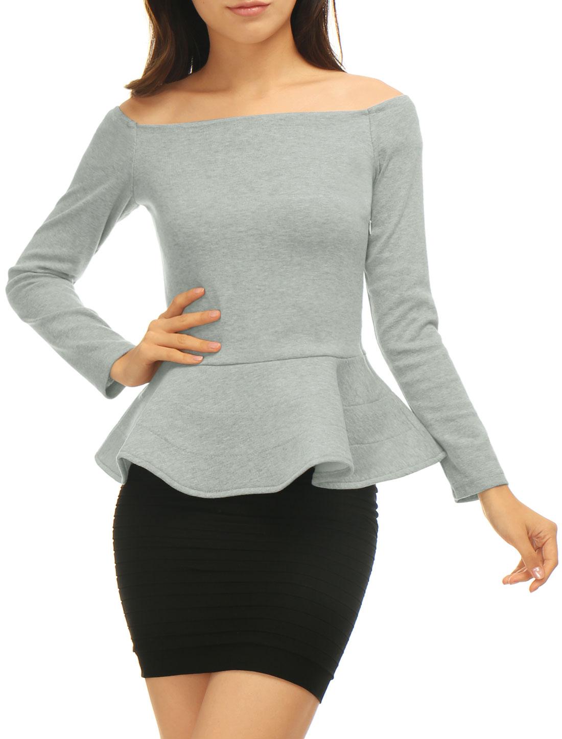Women Off Shoulder Long Sleeves Slim Fit Peplum Top Gray M