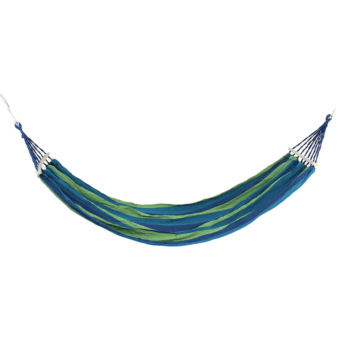 Outdoor Camping Travel Canvas Striped Pattern Rope Swing Sleeping Bed Double Parachute Hammock