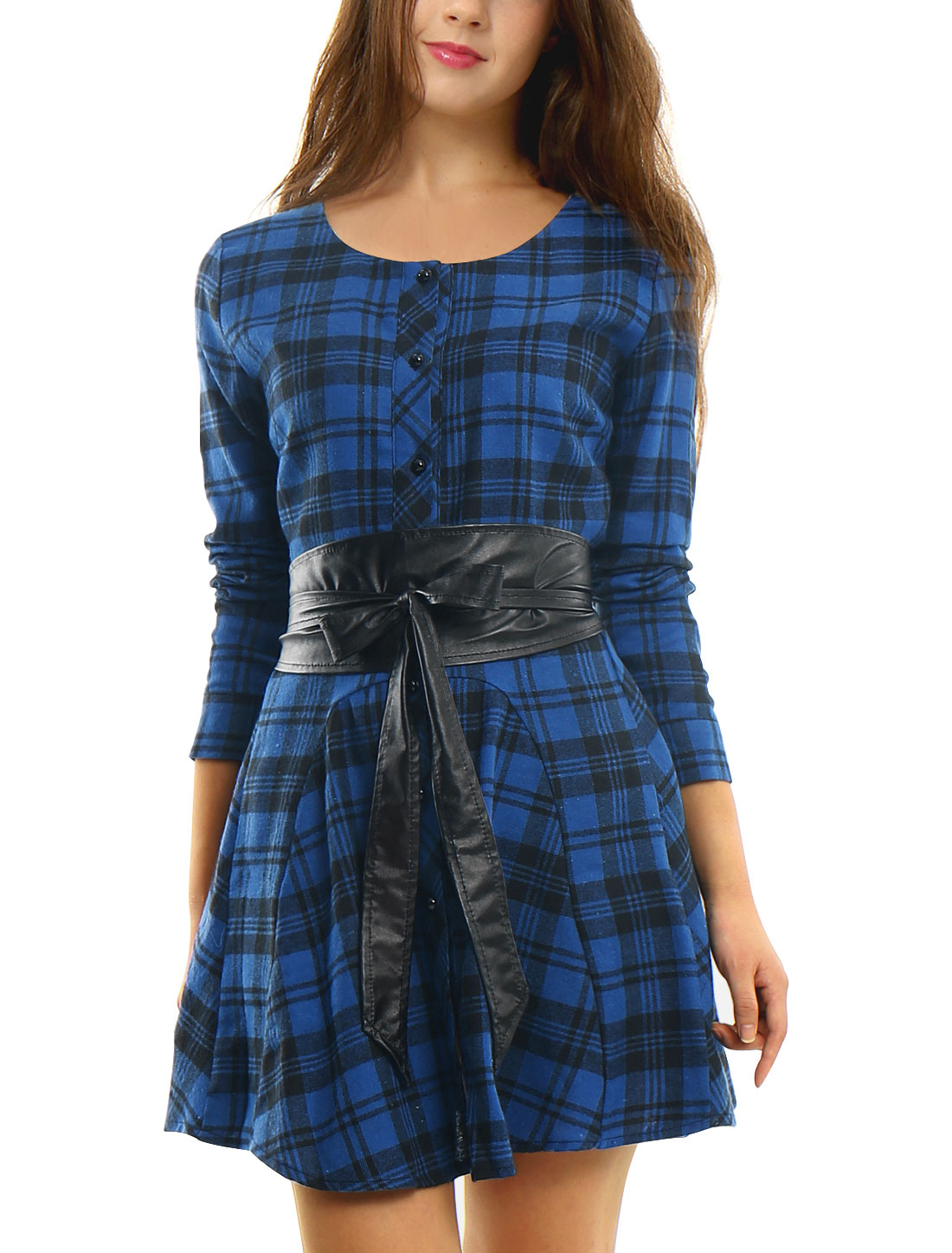 Women Plaids Long Sleeves Belted A Line Shirt Dress Dark Blue Black XS