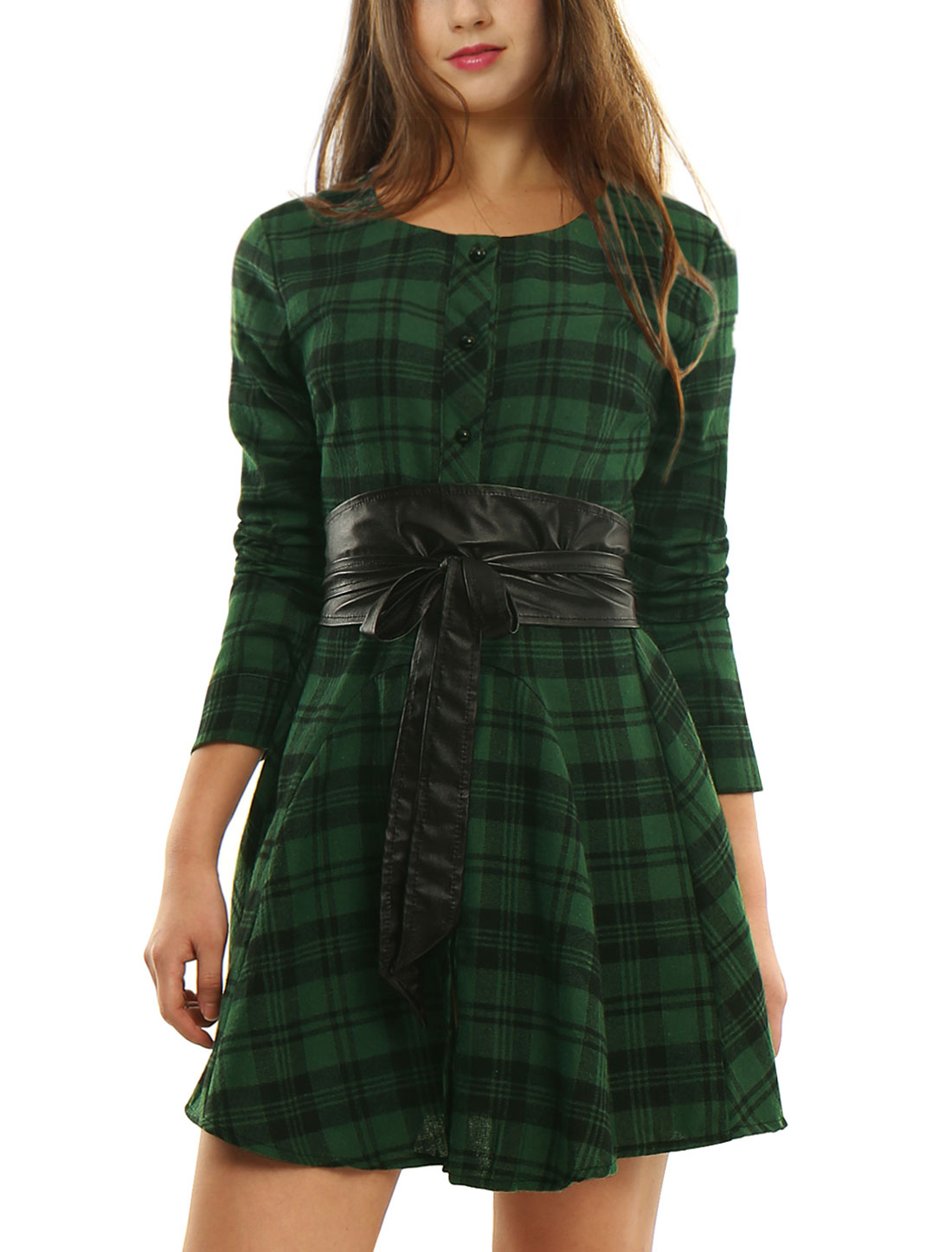 Women Plaids Long Sleeves Belted A Line Shirt Dress Green Black M