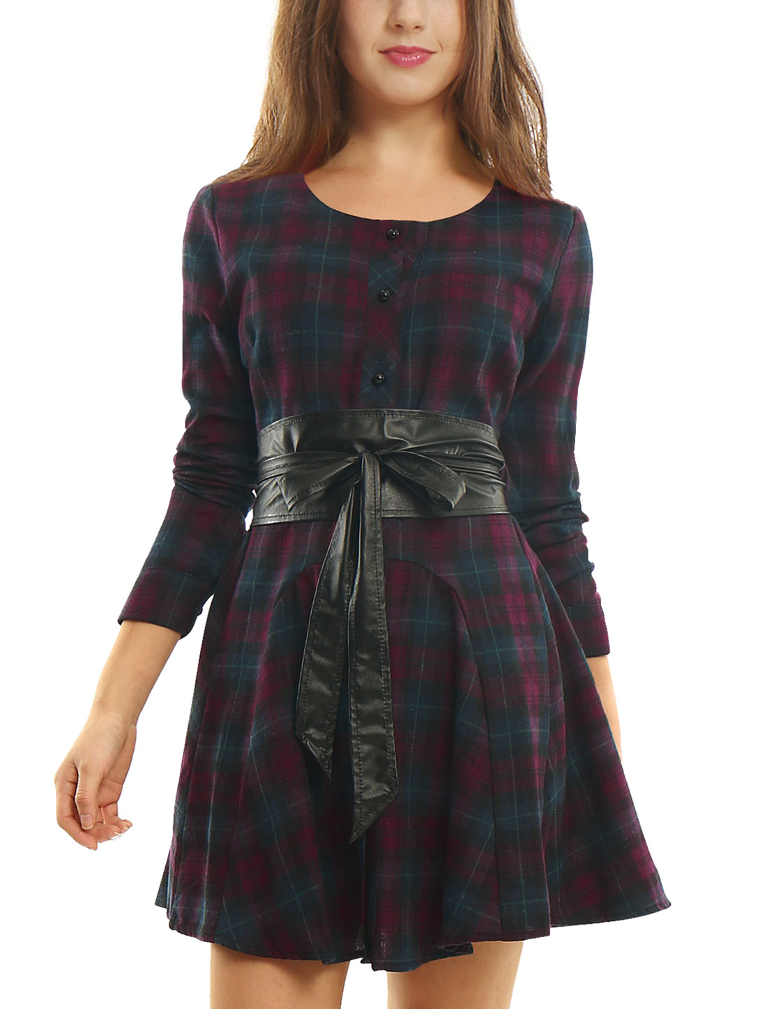 Women Plaids Long Sleeves Belted A Line Shirt Dress Purple M