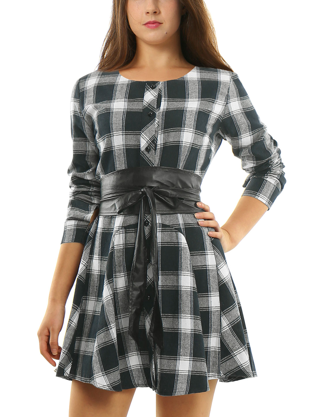 Women Plaids Long Sleeves Belted A Line Shirt Dress Navy Blue White M