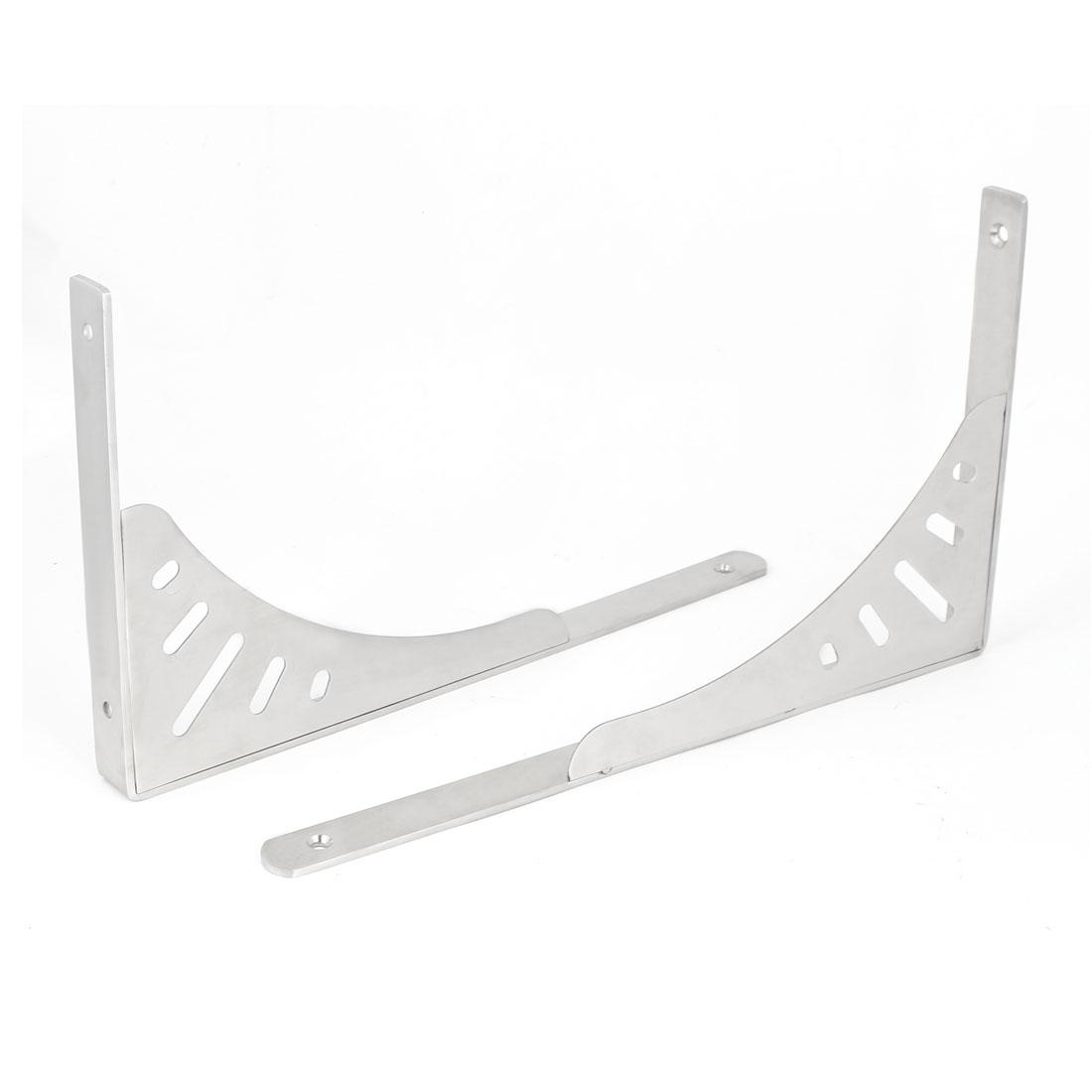 "14"" Stainless Steel L Shape Wall Mounted Shelf Bracket Brace Sliver Tone 2pcs"