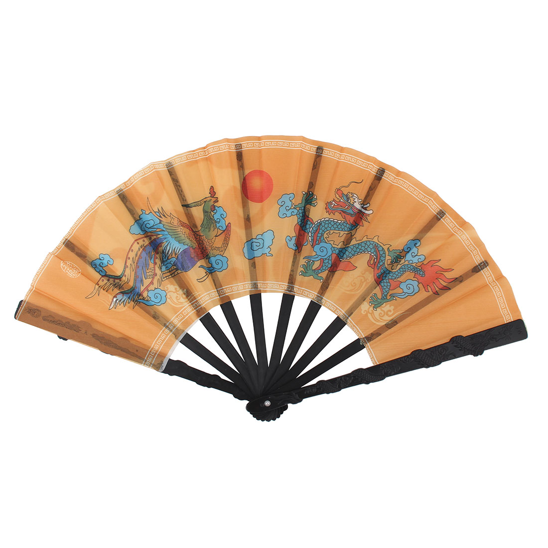 Fabric Dragon Pattern Chinese Ancientry Style Cooling Handheld Folding Fan