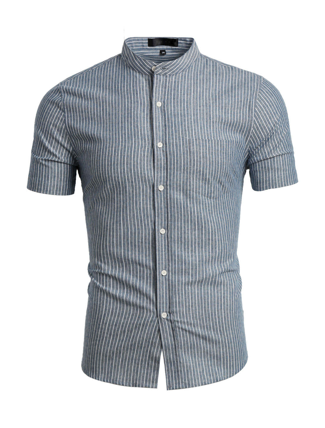 Men Banded Collar Short Sleeves Stripes Pattern Shirt Gray M