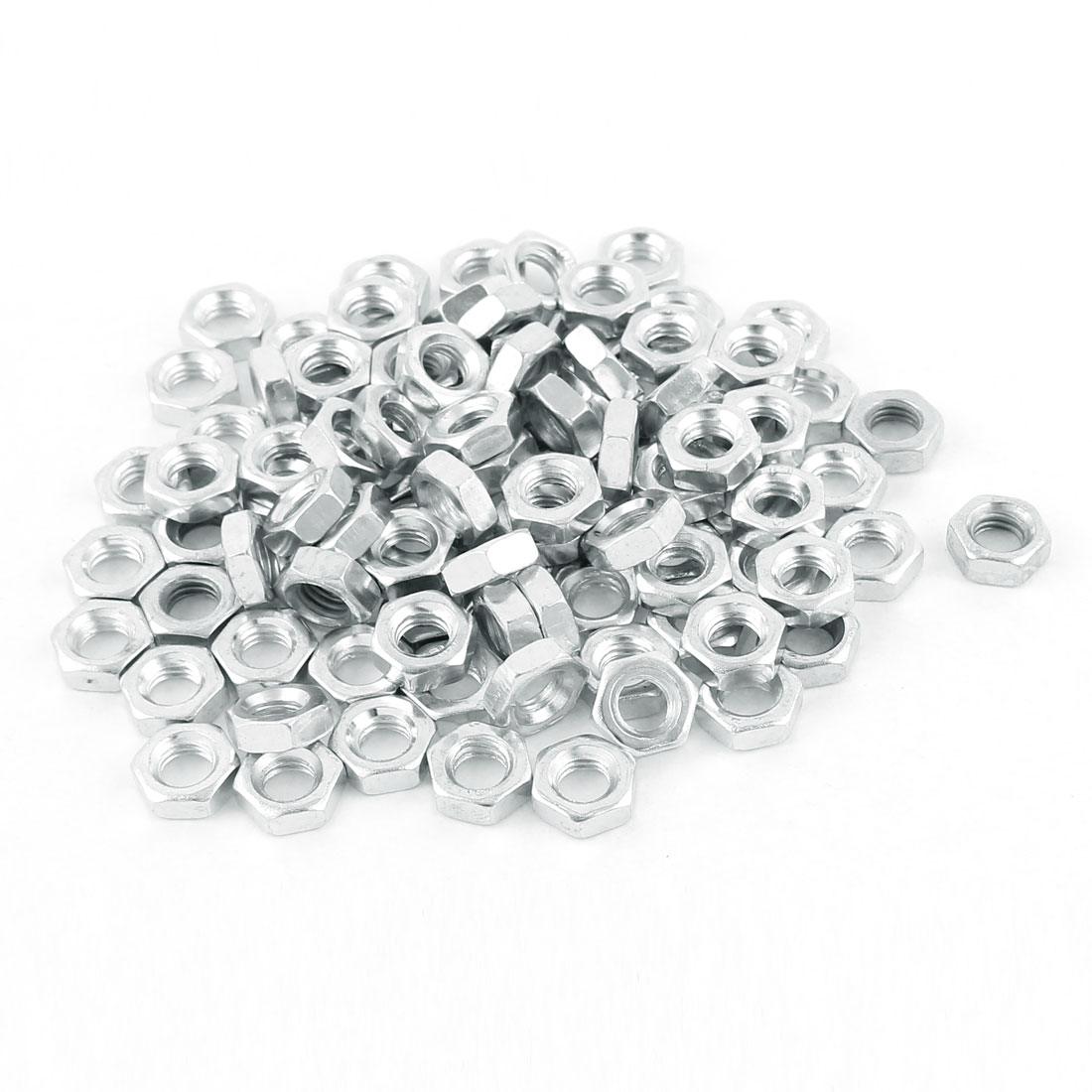 M6 Thread Dia 304 Stainless Steel Metric Hex Nut Screw Cap Fastener Silver Tone 100pcs