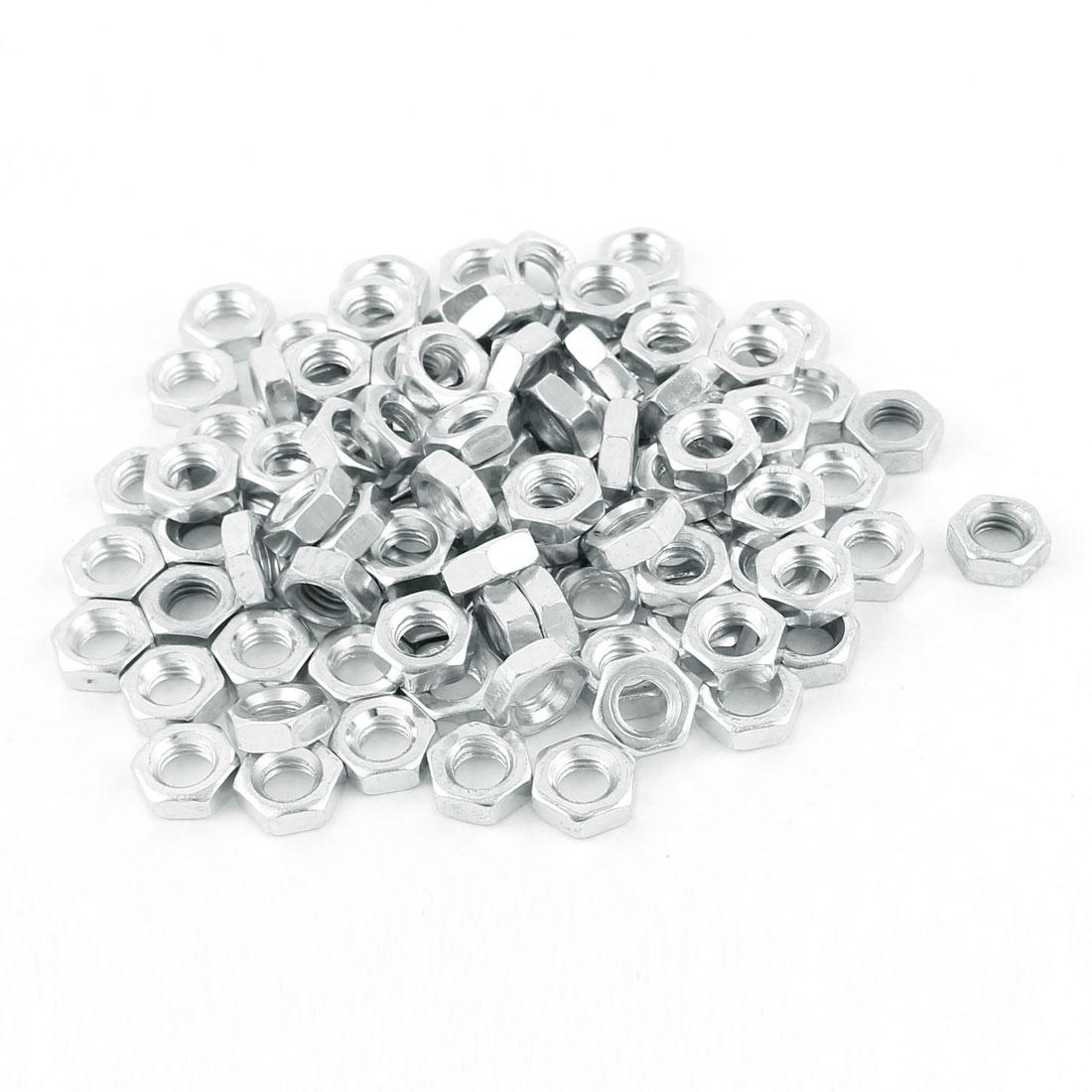 M6 Thread Dia 304 Stainless Steel Metric Hex Nut Screw Cap Fastener Silver Tone 100pcs