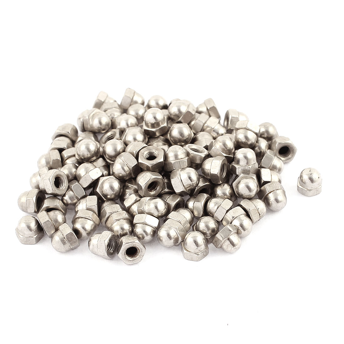 100 Pcs M4 304 Stainless Steel Metric Dome Head Cap Hexagon Nuts Silver Tone