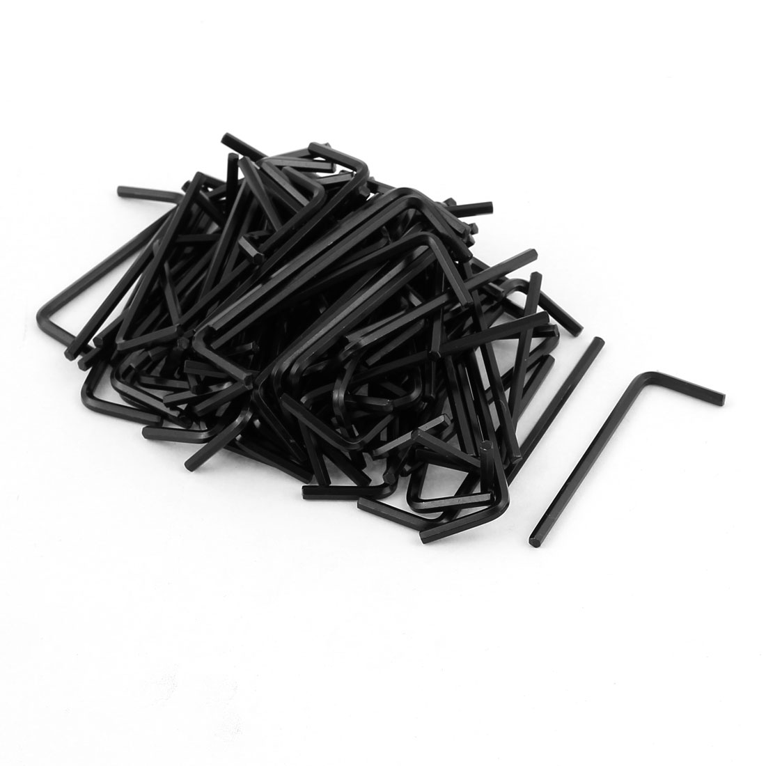 100 Pcs 2.5mm Steel L Shaped Metric Hexagon Key Hex Wrench Repair Tool Black
