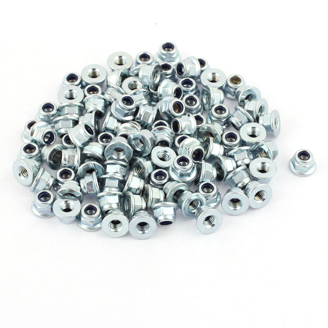 100Pcs M4 Zinc Plated Nylon Insert Hex Hexagon Nylock Flange Nuts Locknuts