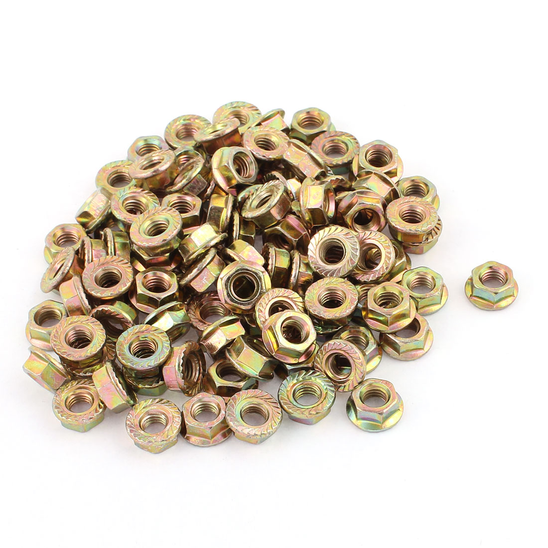 100PCS M6mm Thread Dia Stainless Steel Serrated Hex Flange Nuts Locknuts